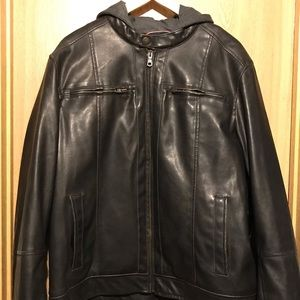 Tommy Hilfiger faux leather jacket with hood.